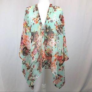 NWT Cejon (Macy's) sheer floral kimono cover up